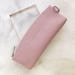 Longchamp Pink Leather Pencil zip pouch